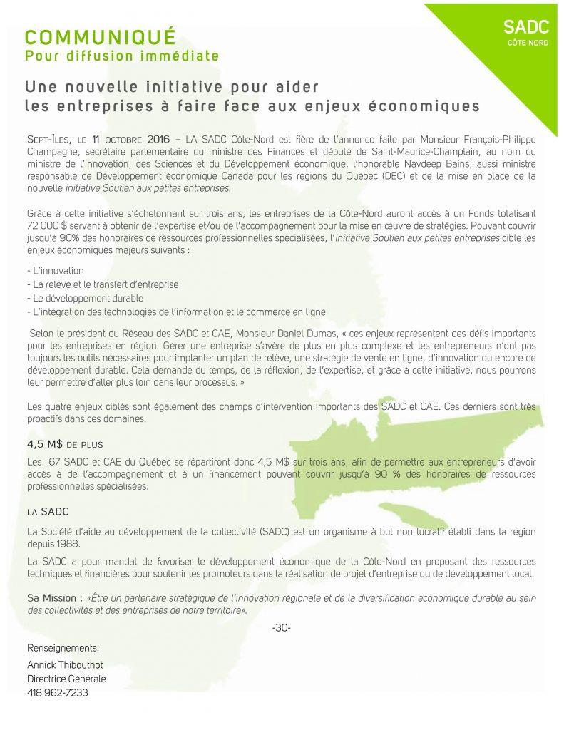 Communiqué de presse SADC Côte-Nord - Nouvelle Initiative