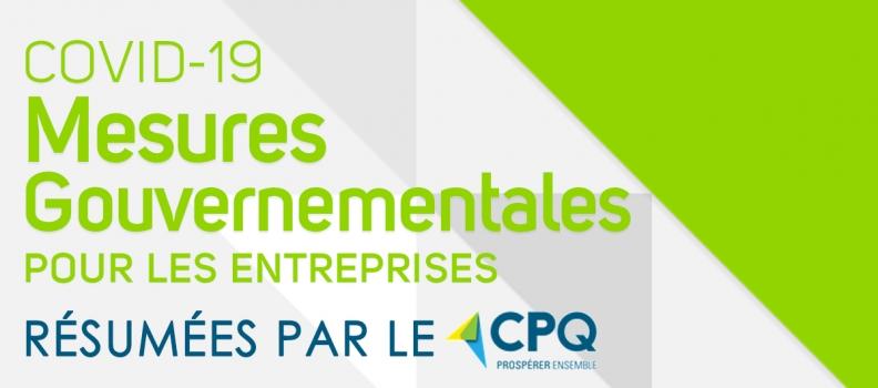 COVID-19 : Mesures gouvernementales pour les entreprises