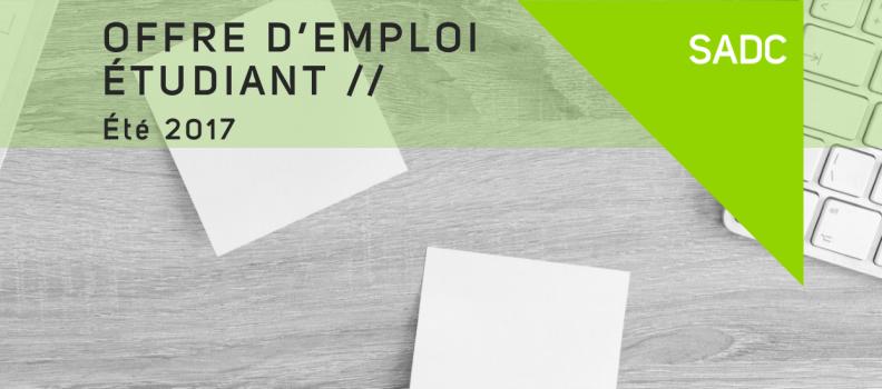 OFFRE D'EMPLOI – Poste Étudiant 2017